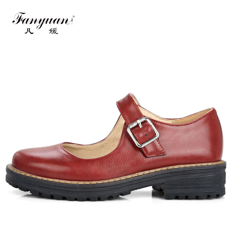 Fanyuan 2018 Thick Heel Women Pumps Mary Jane 3 Colors Work Shoes 2018 Spring Fall Buckle Strap Lady Shoes Women Size