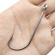 30pcs 34007 Stainless Steel Fishing Hooks White Big Extra Long Shank Fishing Hook Size 1/0 2/0 3/0 4/0 5/0 6/0 7/0 8/0 9/0 10/0