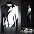 Мужчина личность новинка кожаная одежда верхняя одежда мужской моды мужской случайные кожаная одежда персонализированные для певица танцор