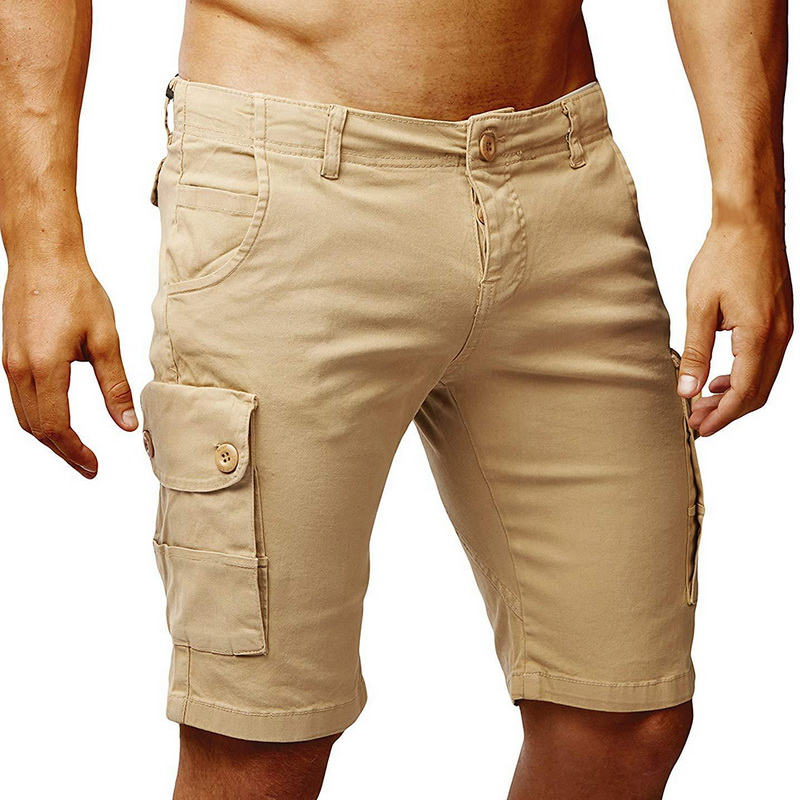 Cargo-Shorts Knee-Length Summer New-Brand Green Khaki Black Solid Casual Men