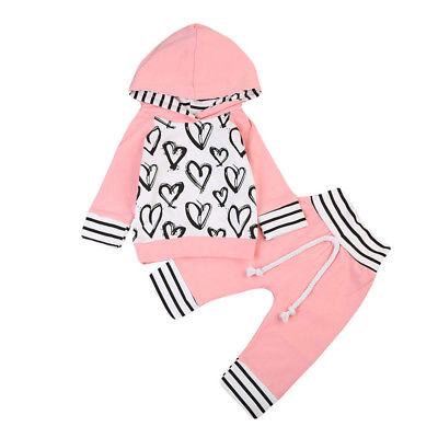 Newborn Kids Baby Girl Clothes Set Autumn Winter Long Sleeve Heart Hooded T-shirt Top Long Pants Pink Outfit Girls Costume 2PCs 2016 hot selling baby kids girls one piece sleeveless heart dots bib playsuit jumpsuit t shirt pants outfit clothes 2 7y