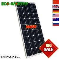 2019 100W Monocrystalline Solar Panel for 12V Battery RV Boat , Car, Home Solar Power