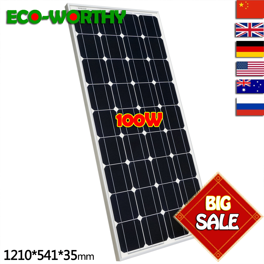 2019 100W Monocrystalline Solar Panel for 12V Battery RV Boat , Car, Home Solar Power