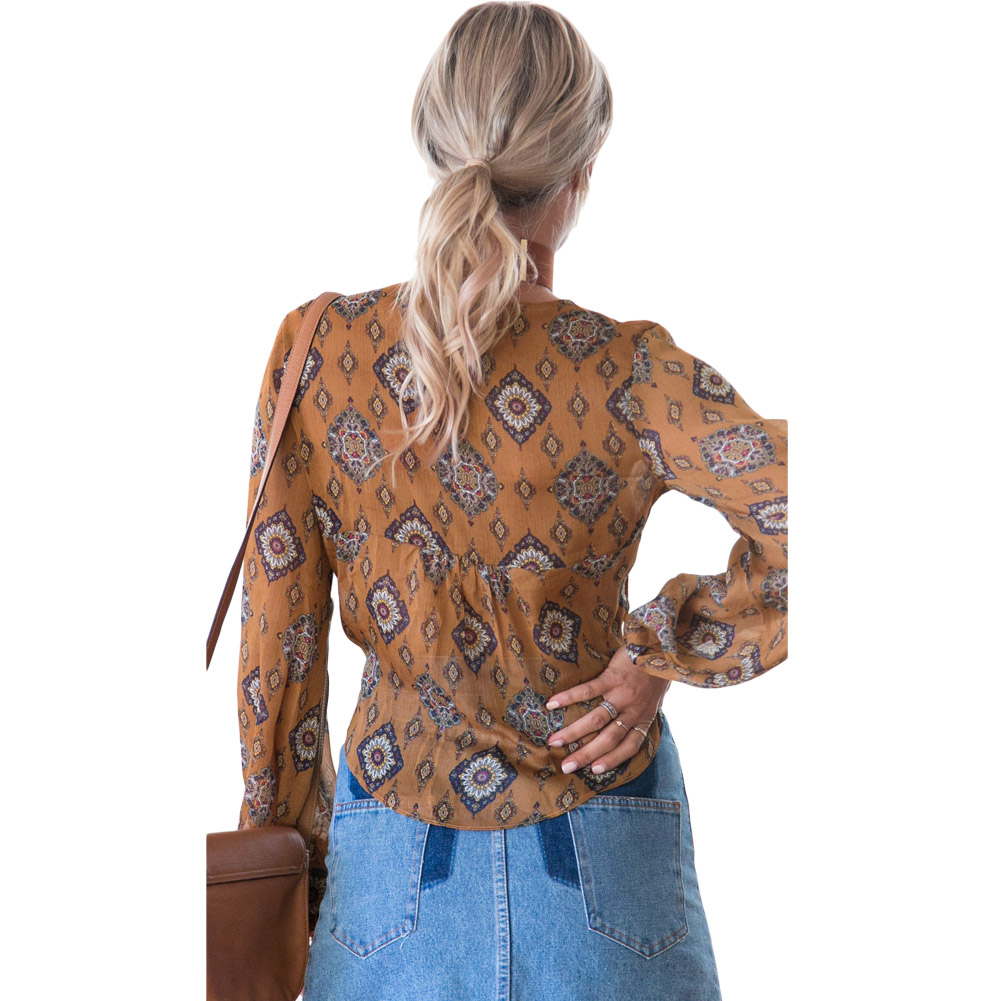 Sexy Women   Blouse     Shirt   Long Sleeve Deep V Neck Printed Bow Tie Casual Streetwear Beachwear Top Brown mujer blusas