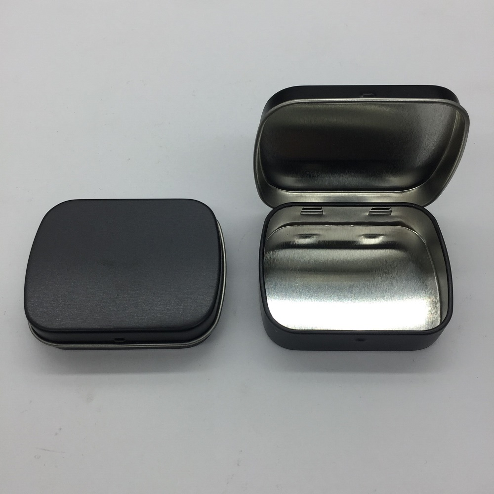 New Arrival black Mint tin box small gift box jewelry chewing gum box with hinge 100pcs/lot