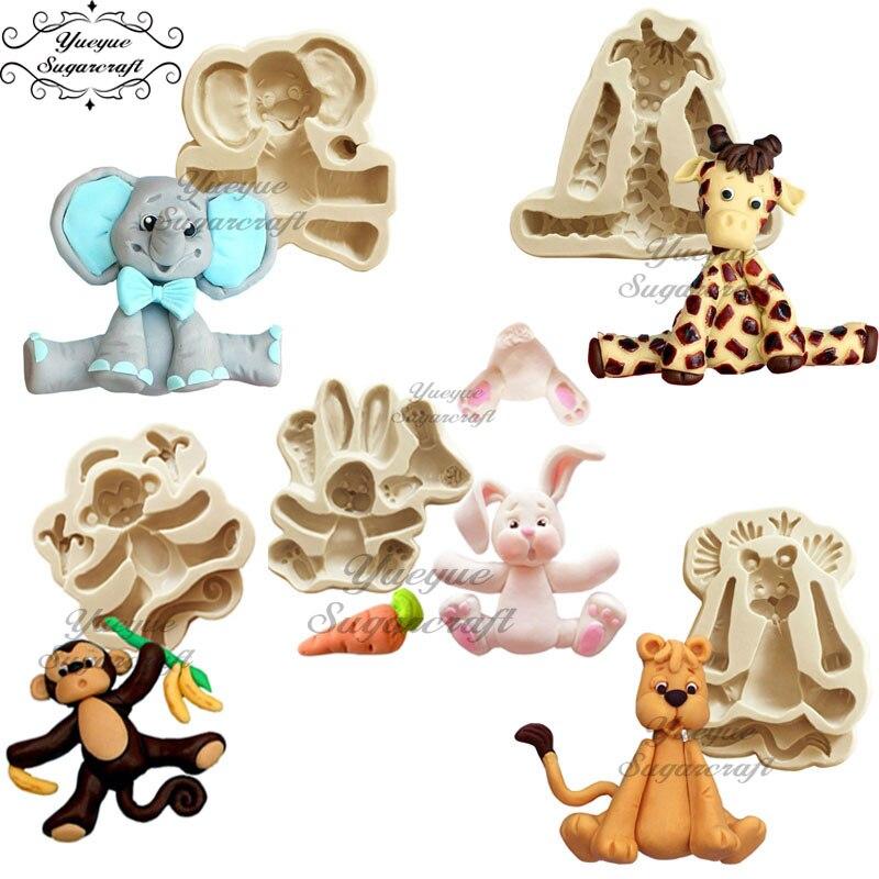 Yueyue Sugarcraft Animal Elephant/Dog/Rabbit/silicone Mold Fondant Mold Cake Decorating Tools Chocolate Gumpaste Mold Clay Mould