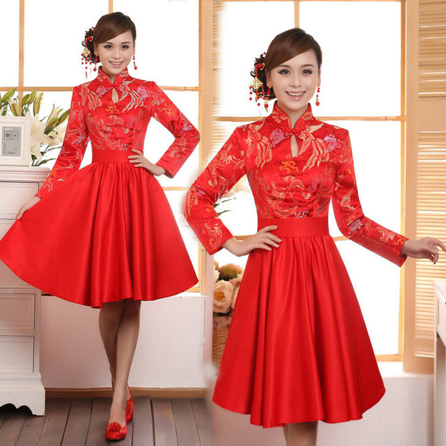 Chinese Style Cheongsam Embroidery Long Sleeve Bridesmaid Dress ...
