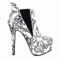 LF80843 Blue And White Porcelain Platform Stiletto Ankle Boot Bootie Size 4 5 6 7 8