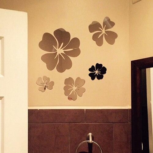 Fashion 5Pcs Flower 3D Art Mirror Wall Sticker Decal Home Office DIY ...