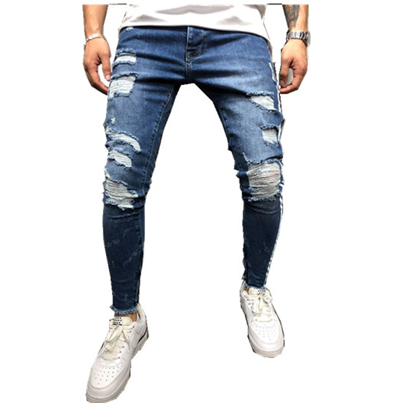HZIJUE 2019 Ripped stripe   Jeans   For Men Hip Hop blue Skinny Men Stretch Blue   Jeans   Designer Brand Fashion Slim Fit Dropshipping