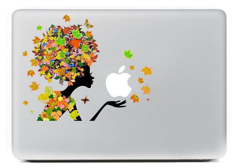 Color fairy leaves Vinyl Decal Sticker for DIY Macbook Pro / Air 11 13 15 Inch Laptop Case Cover Sticker