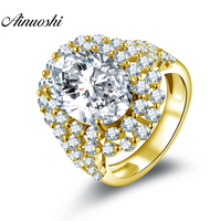AINUOSHI 10K Solid Yellow Gold Halo Ring 6ct Oval Cut Big Stone SONA Diamond Ring Luxury Wedding Engagement Jewelry Women Ring