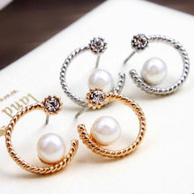 Crystal Earrings For Women Gold Silver Pearl Moon Stud Earring Female Cubic Zirconia Rhinestone Charm Ear Jewelry Accessories(China)