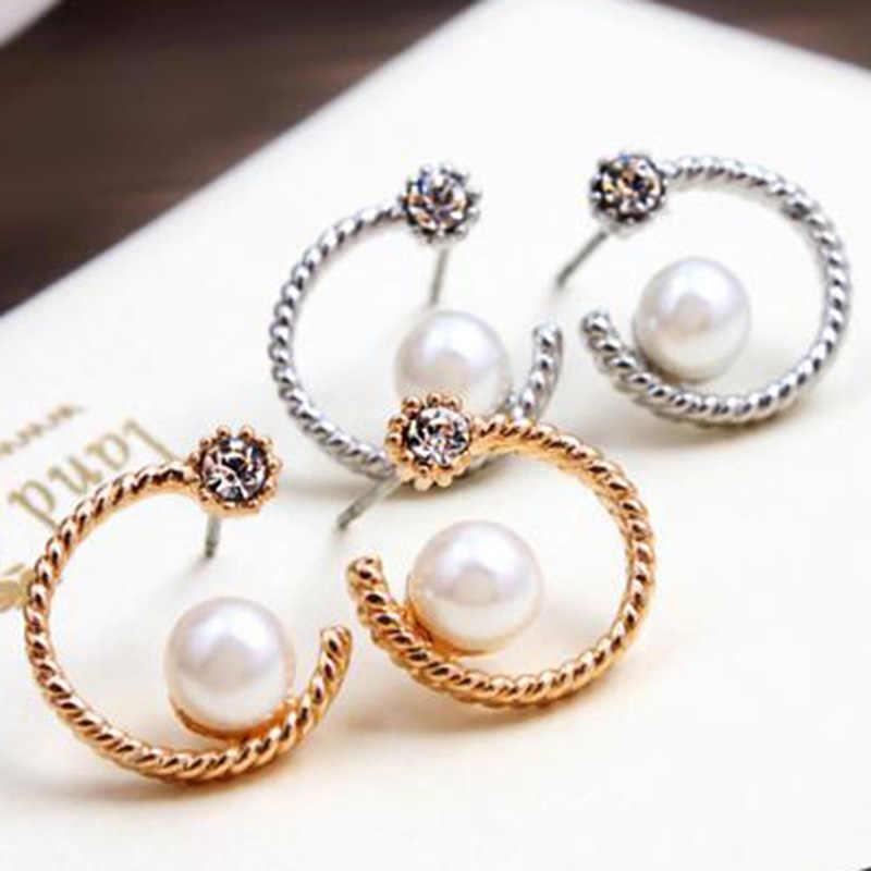Pendientes de cristal para mujer oro Plata Perla Luna Stud pendiente femenino Zirconia cúbica Rhinestone encanto oreja joyería Accesorios