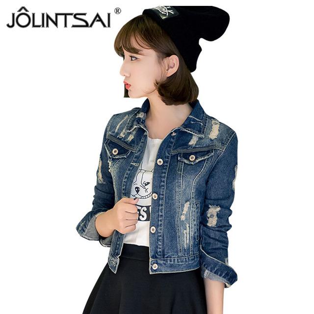 Nuevo Tamaño Más 5XL Chaqueta de Mezclilla Mujer 2016 Primavera Otoño Chaqueta de Jeans Cortos Agujero Mujeres Moda Mujer Abrigo casacos femininos