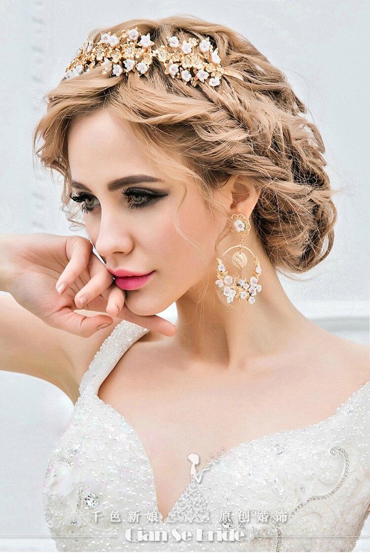 Bridal Hairband Clear Crystal Gold Plating Ceramic Flower