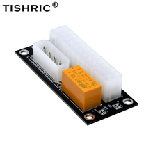 TISHRIC 10Pcs 24Pin ATX To 4Pin Molex Connector Power Sync Starter For Btc Mining Extender Cable Card Add2psu Dual Psu Adapter pc desktop atx 24pin dual psu power supply sync starter extender cable for bitcoin miner rig