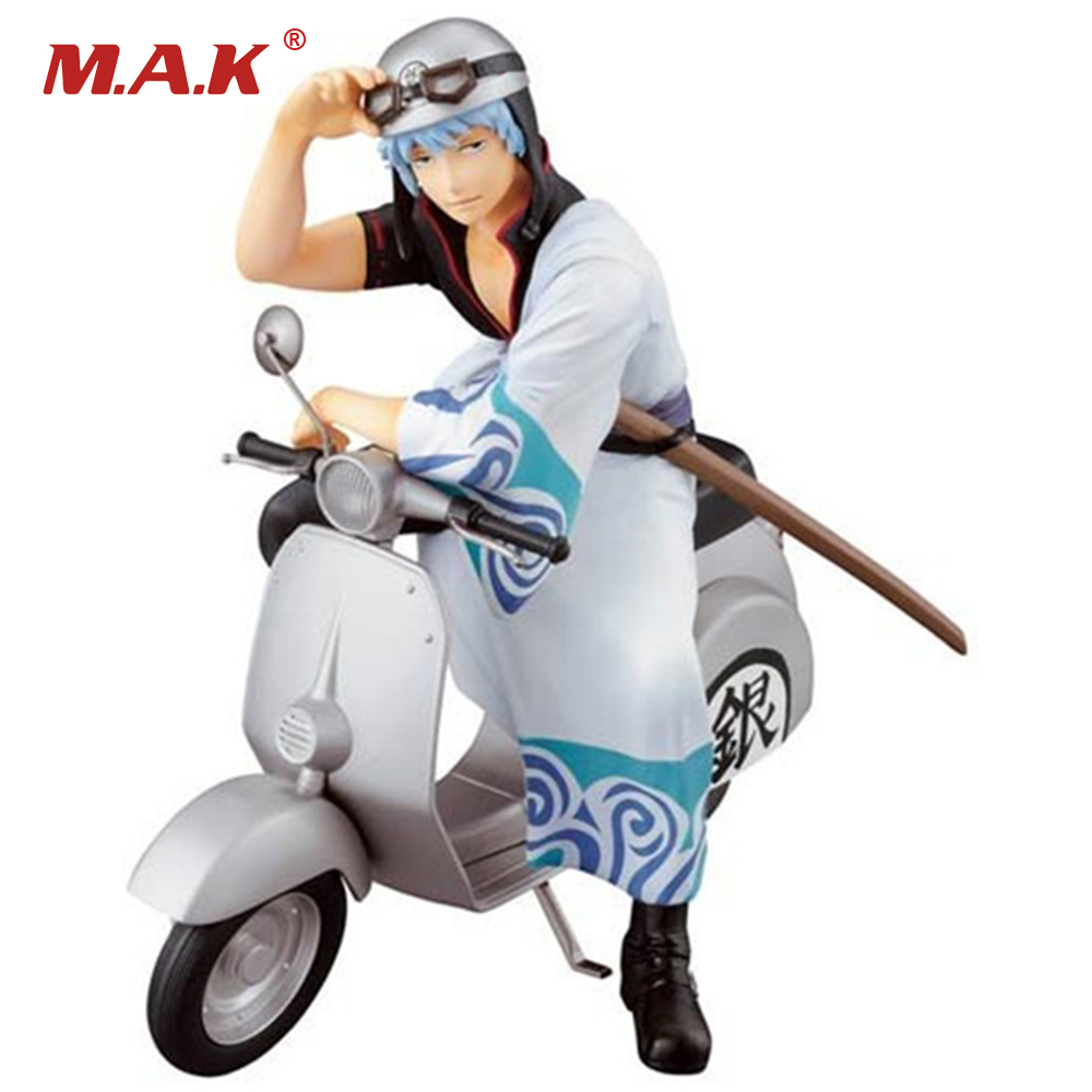 15cm PVC Silver Soul Gin Tama Gintama Sakata Gintoki Motorcycle Version Anime Action Figure Toys Collections Gifts with Box sakata gintoki cool pu wallet anime gintama long style purse with zipper