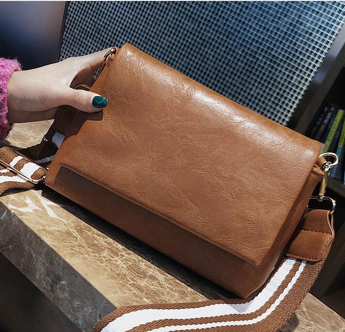 Pu Leather Stripe Strap Ladies Bag Female Handbag Fashion Shoulder Messenger Bag #1883 Women Crossbody Bag