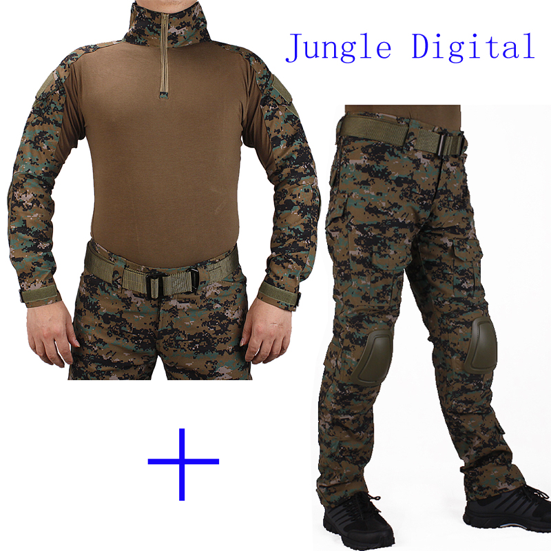 Hunting Camouflage BDU JD Combat uniform shirt met Broek en Elbow & KneePads militaire cosplay uniform ghilliekostuum jacht