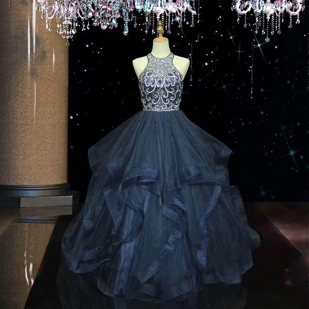 Robe De bal à plusieurs niveaux bleu marine robes Quinceanera cristaux Tulle doux 16 robe Vestidos De 15 Anos