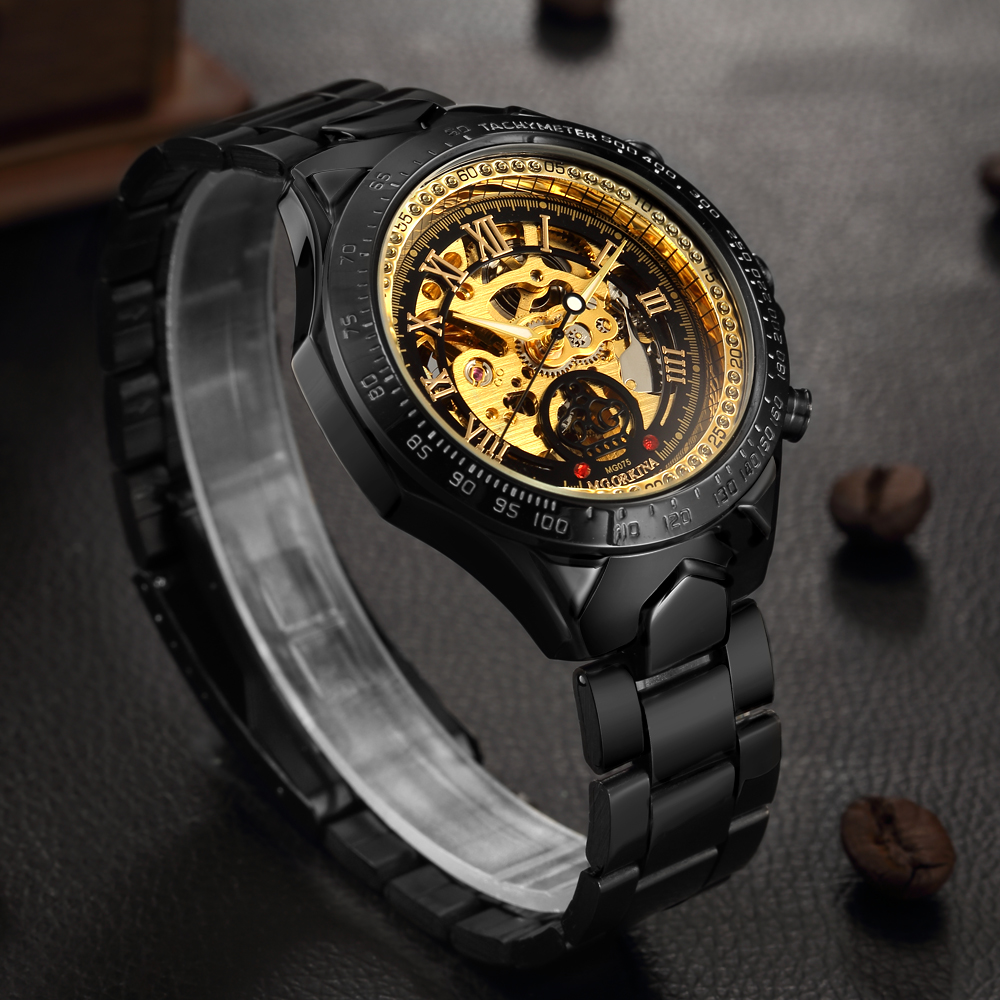 ORKINA Men's Watch Automatic Mechanical Male Clock Wristwatch Luxury Golden Skeleton Dial Roman Numerals Relogio Masculino xfcs ik coloring bridge analog display mechanical male clock automatic wristwatch golden bezel skeleton watches relogio masculino