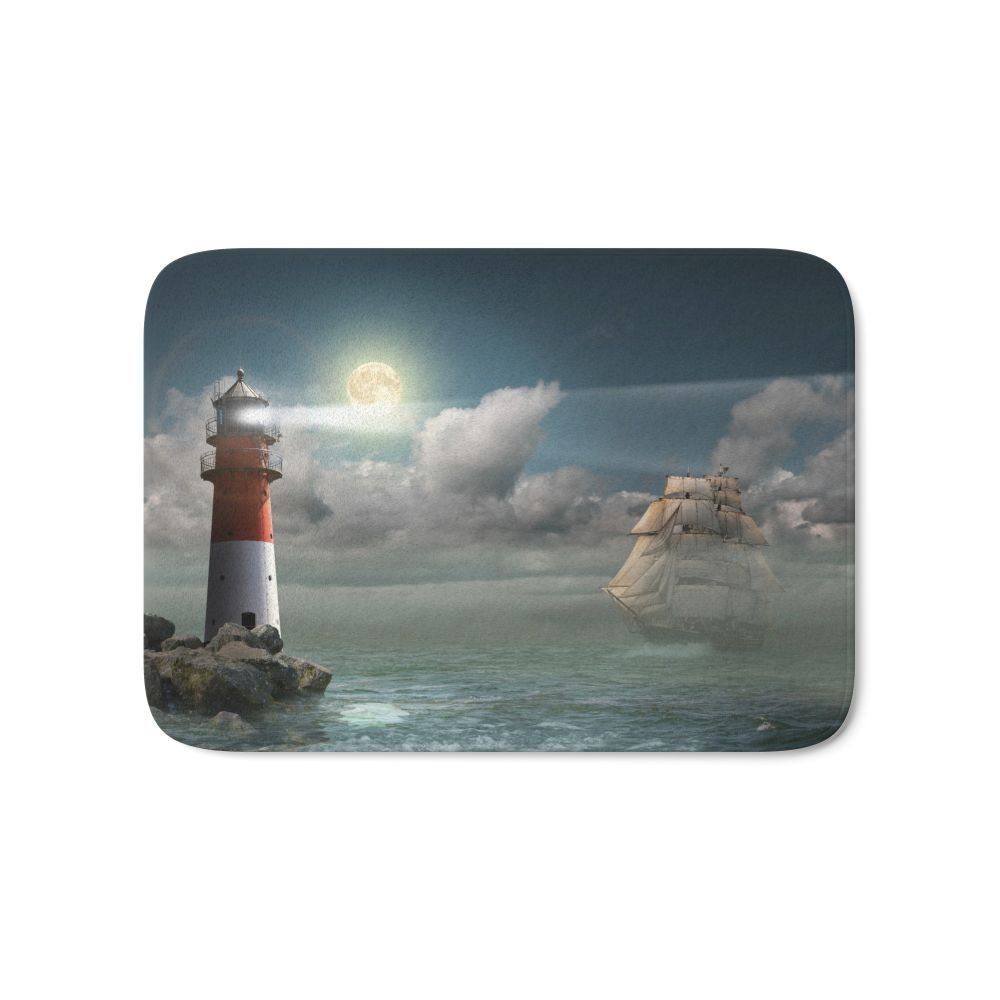 Lighthouse Under Back Light Bath Mat 21 x 34 Pattern Coral Fleece Rug Anti-Slip Doormat Home Decor