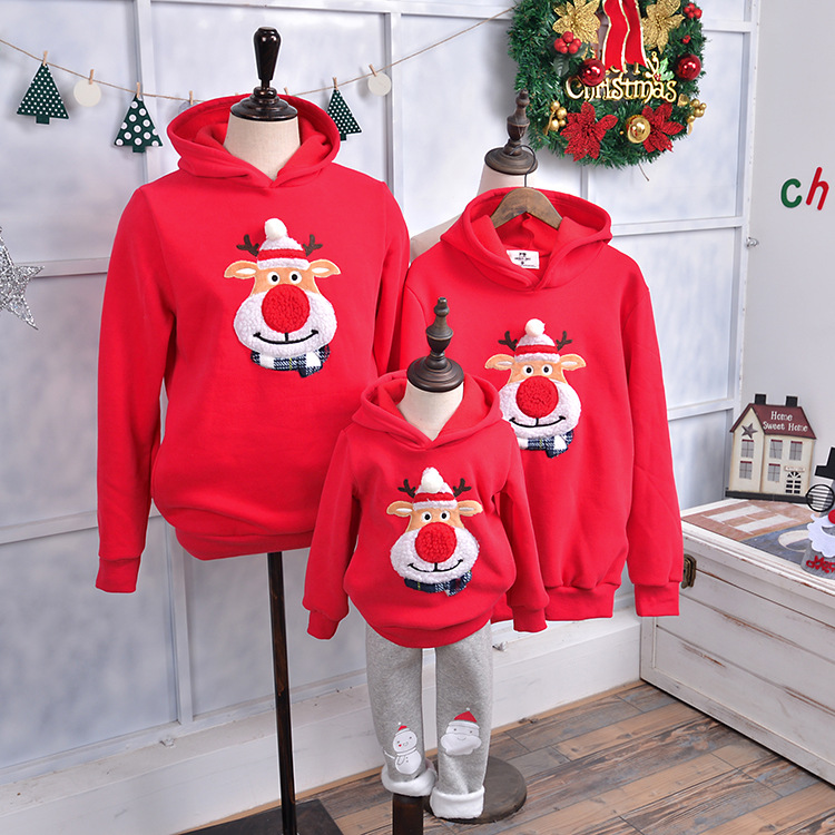 2018 Winter Family Matching Outfits Christmas Sweater Cute Deer Children Clothing Kid T-shirt Add Wool Warm Family Clothes P001 plus size christmas deer bell graphic asymmetric t shirt