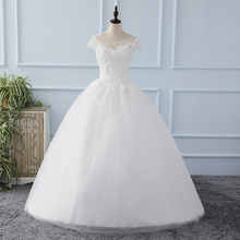 New Arrival Real Photo Bridal Gowns Cap Sleeve Beadings Flowers Appliques lace Up Floor Length Ball Gown Wedding Dresses Cheap