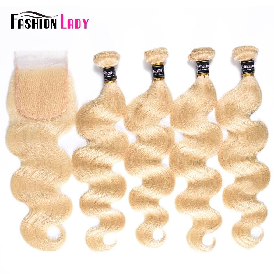 Fashion Lady Brazilian Body Wave Platinum Blonde Hair Bundles With Closure 100% Human Hair 4 Bundles With Lace Closure Remy Hair