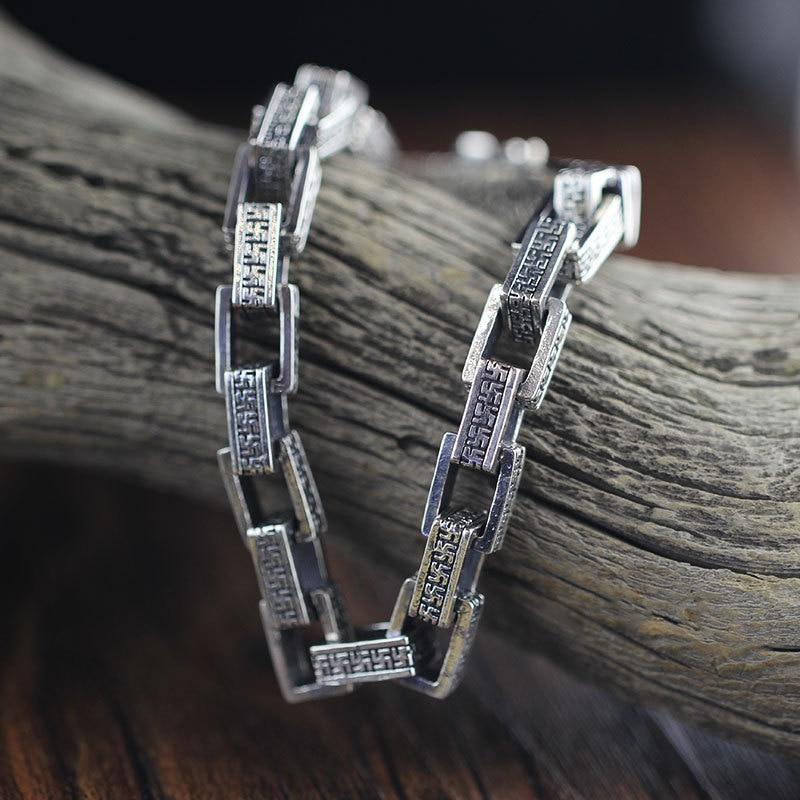 S925 pure handmade sterling silver jewelry silver bracelet six words цена