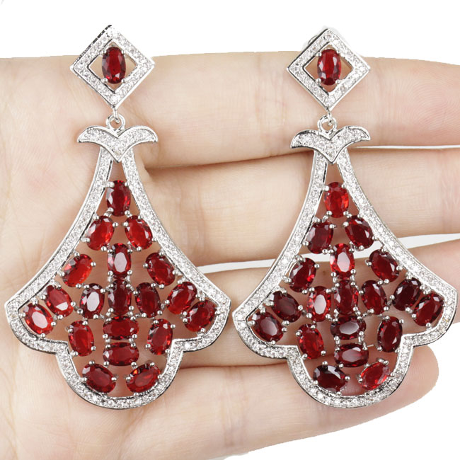 Big Heavy 20.9g Deluxe Top Red Blood Ruby Woman's Engagement 925 Silver Earrings 65x36 mm