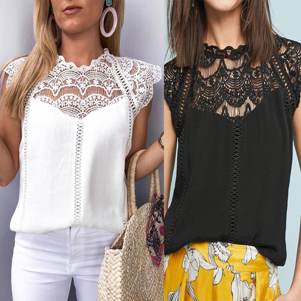 Summer Fashion 2019 Women Lace Blouses Ladies Solid Causal Sleeveless Hollow Out  Blouse Tops Chiffon Shirt Blusas Mujer  #G(China)