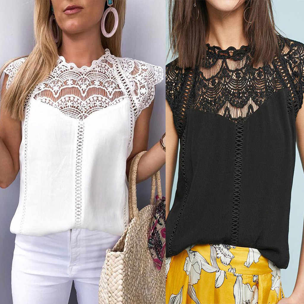 Summer fashion 2019 Women Lace Blouses Ladies Solid Causal Sleeveless Hollow Out  Blouse Tops Chiffon Shirt blusas mujer  #G