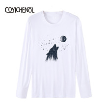 2019 Instagram increative printed tops o-neck  Modal fashion top New men Long sleeve casual T-shirt