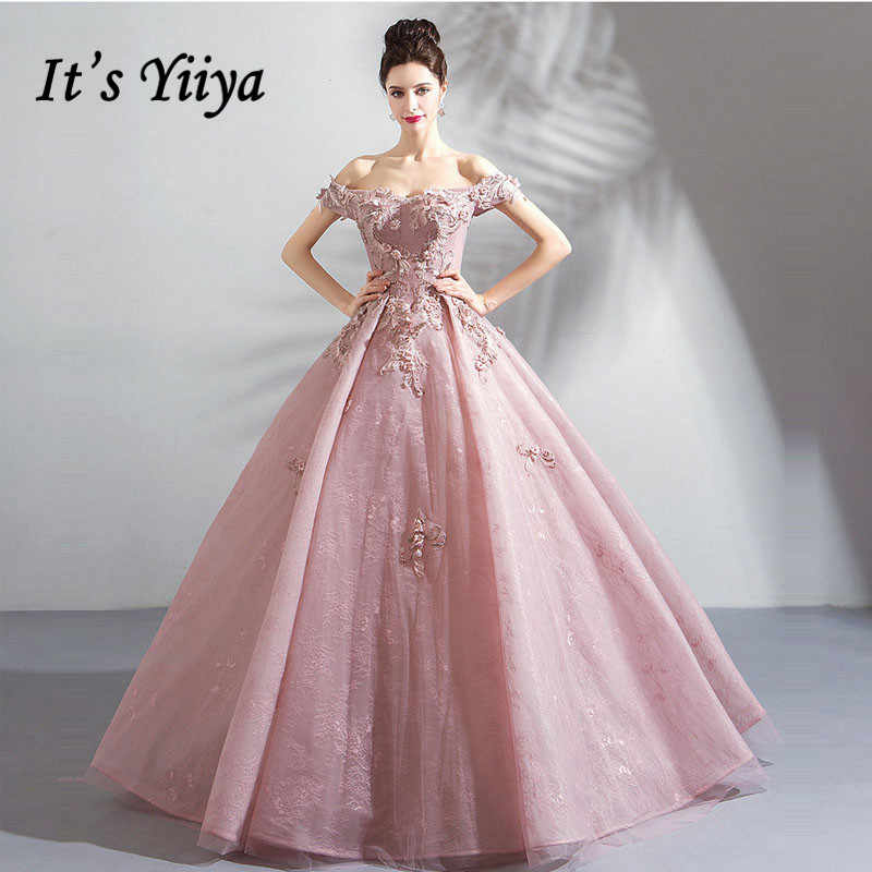 695f3d2b11 It s YiiYa Eveming Dress Soybean Color Boat Neck A-line Floor-length  Appliques Beading