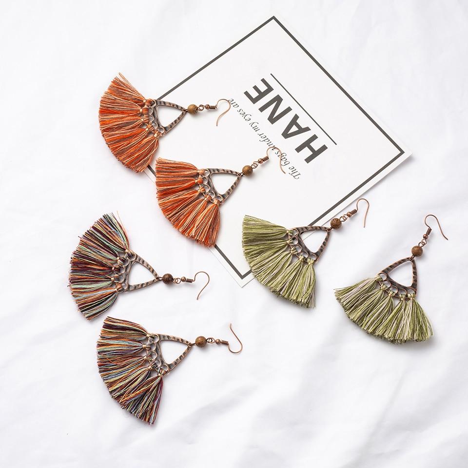 Antique Alloy Boho Bohemian Ethnic Handmade Craft Fabric Tassel Dangle Drop Earrings For Women Female 2018 Jewelry Accessories