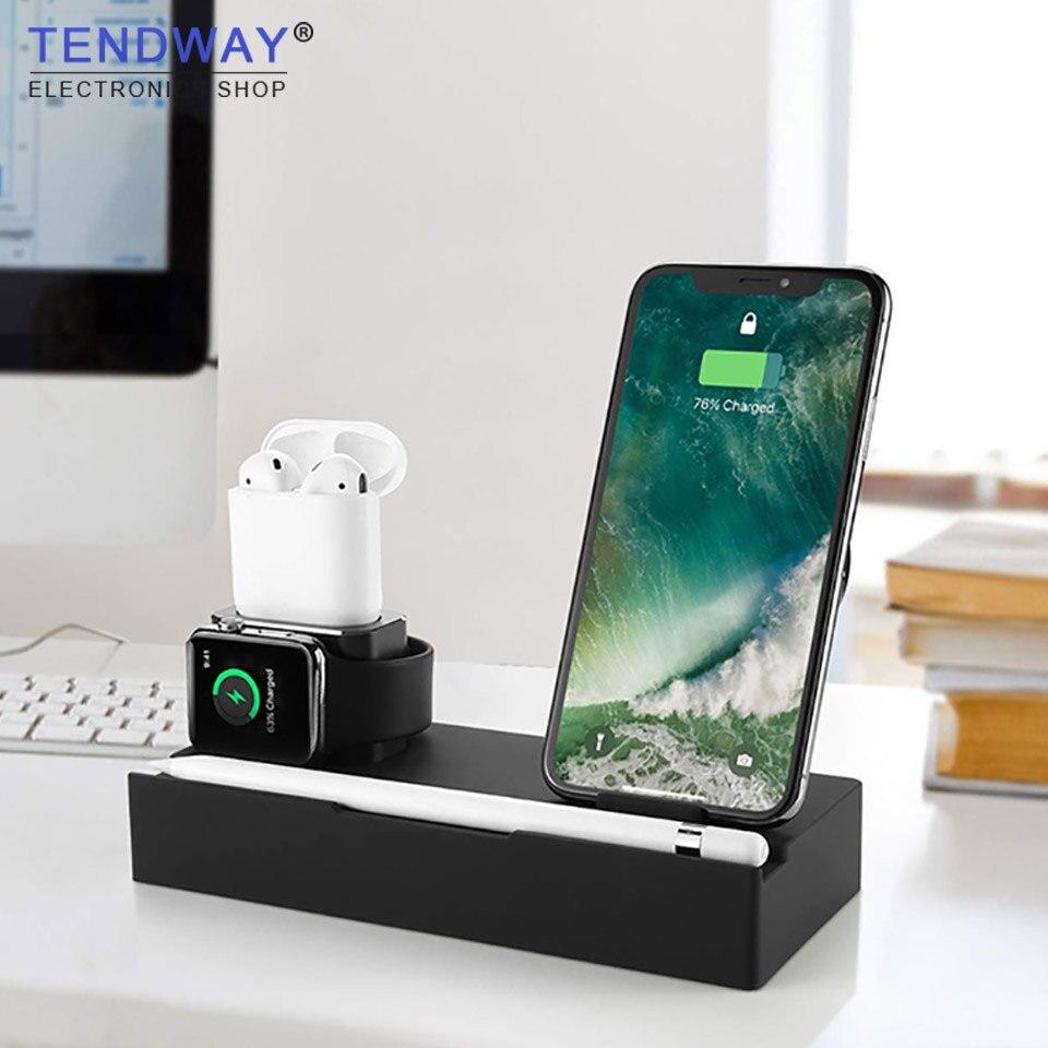 6 в 1 QI Беспроводной Зарядное устройство для Iphone для Airpods Apple Watch держатель телефона Multi Функция samsung Зарядное устройство Стенд USB зарядное устр...