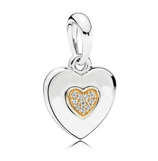 f5555e60b ... cheap 925 sterling silver gold color two tone signature heart pendant  bead charm fit pandora bracelet