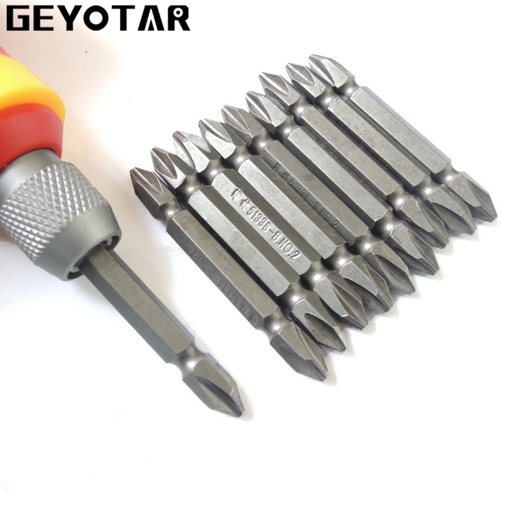 New 10PCS PH2 Electric Screwdriver Bit Set Bits Hex Shank Magnetic Alloy Steel For Cross Head 60mm 1/4 inch 1pc st016 strong magnetic 65mm cross head screwdriver bit double head high quality electric screwdriver set ph2 free shipping