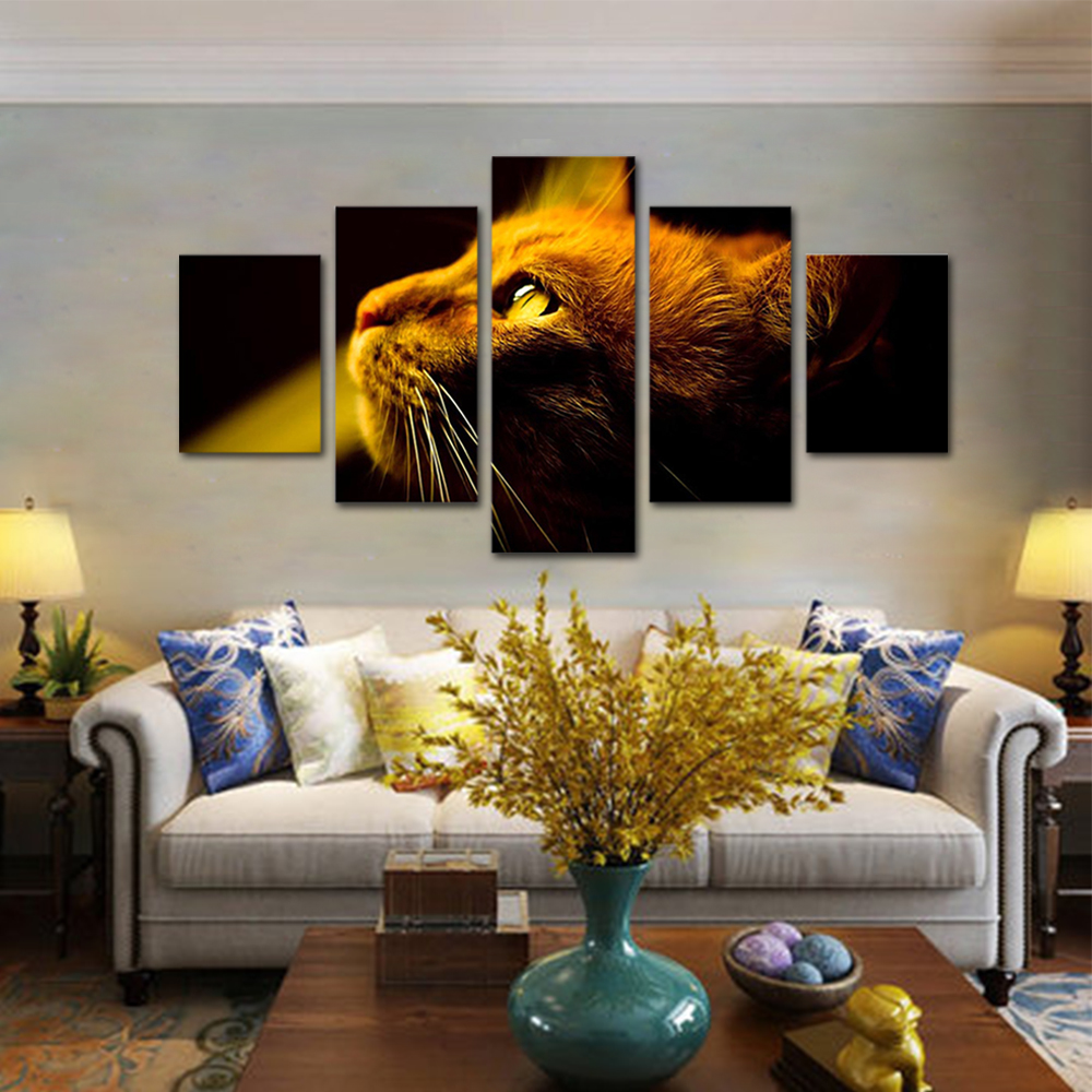 Unframed HD Print 5 Canvas Art Painting Orange Cats Eyes Living Room Decoration Animal Spray Painting Mural Free Shipping