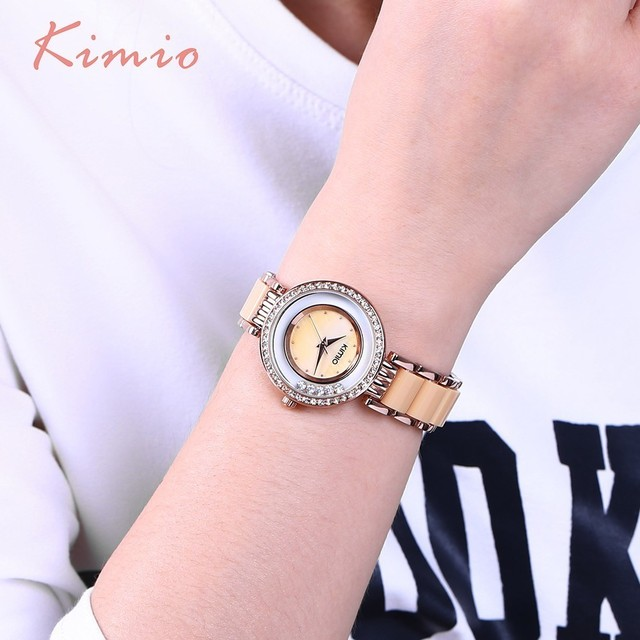 KIMIO Luxury Brand Rolling Drill Diamond Watch Women Clock Rose Gold Bracelet Watches Women Fashion Watch 2018 Women's Watch
