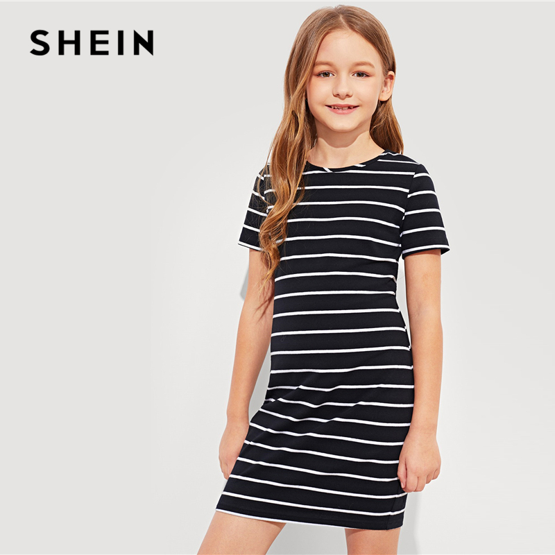SHEIN Kiddie Girls Black And White Striped T-Shirt Casual Dress Children Dress 2019 Spring Korean Short Sleeve Kids Dresses girls 2017 summer and autumn with flowers and bow belt tulle dress children roses peter pan collar long sleeved princess dress