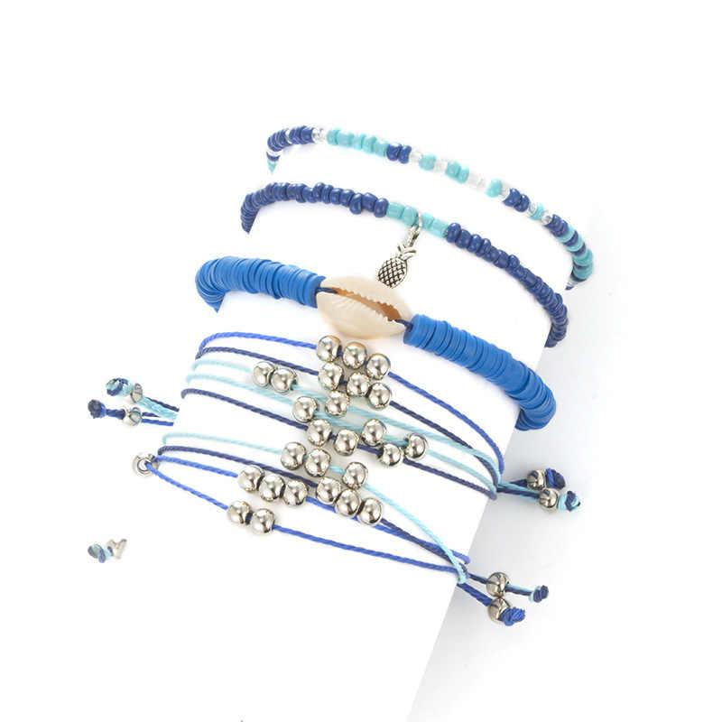 ボヘミアン女性のシェルアンクレット足首ブレスレットビーズ巻き貝スター脚足 brecelets ロープリンクチェーン手作りアンクレットのためのセット女性
