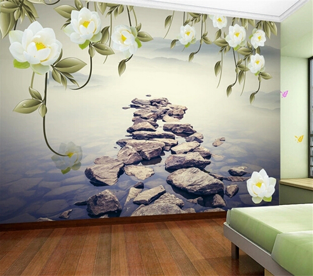 gros 3d fresque murale pour canap tv fond chambre fleur pierre paysage 3d photo peintures. Black Bedroom Furniture Sets. Home Design Ideas