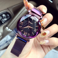 Ladies Watch Women Starry Sky Watches Top Brand Luxury Purple Watch Woman Clock Magnet Strap Wristwatch montre femme 2018 luxe