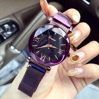 Top Brand Luxury Watch Women Rose Gold Steel Mesh Ladies Watches Luxury Exquisite Women's Wristwatch Magnet montre femme 2019 Women's Wristwatches