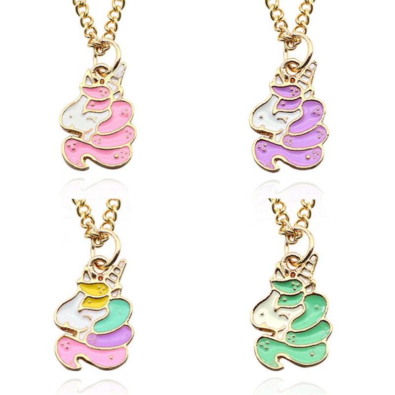 Enamel Animal Pendant Choker Unicorn Necklace Kawaii Colorful Cartoon Gold Chain DIY Rainbow Horse Necklaces&Pendants Xmas Gift