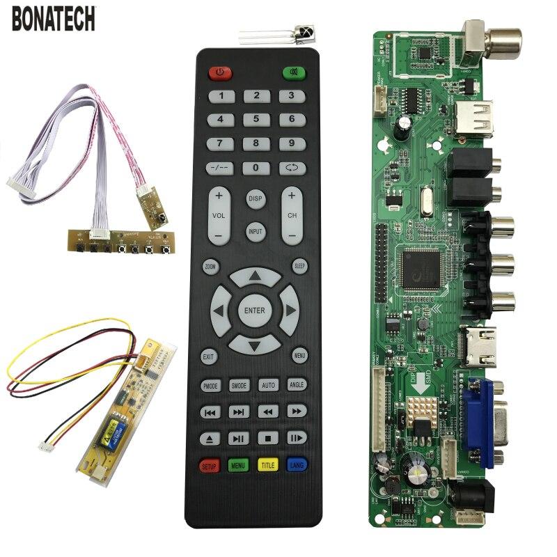 Frete Grátis V56 Universal TV LCD Placa De Driver De Controlador De PC/VGA/HDMI/USB Interface + 7 Chave Board + 1 Lâmpada Inversor 560161