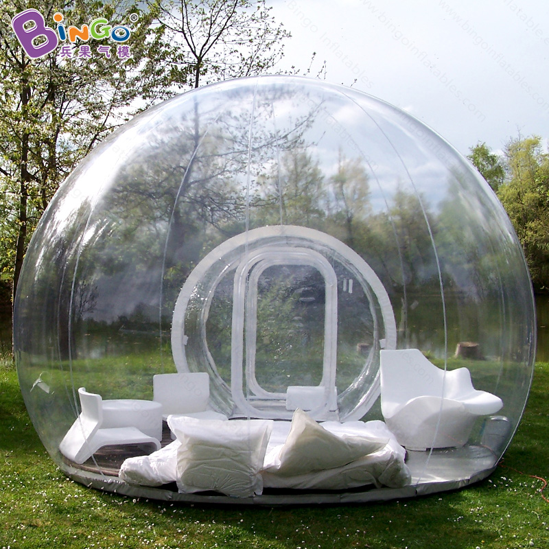 Free shipping Inflatable transparent bubble tent with tunnel for camping High quality outdoor tarvel lightweight clear dome tent недорго, оригинальная цена